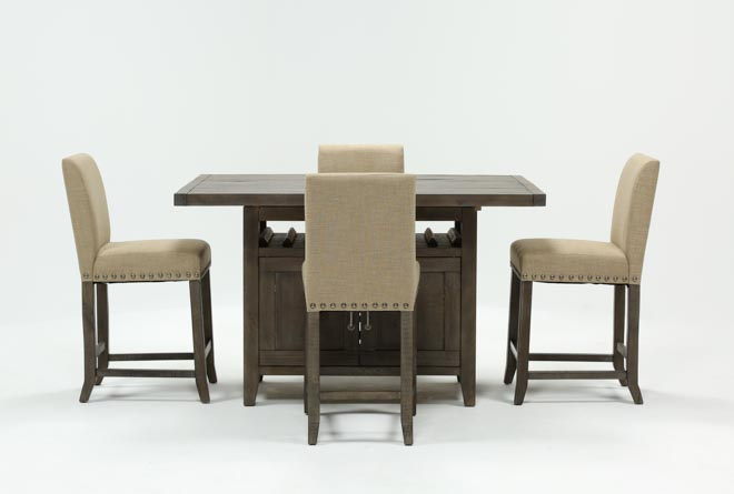 Jaxon Grey 5 Piece Extension Counter Set W/Fabric Stools - 360
